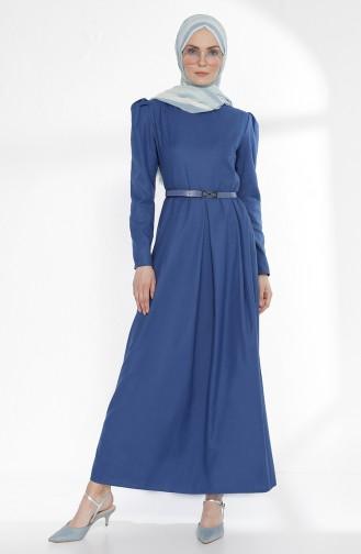 Kemerli Elbise 3159-12 İndigo