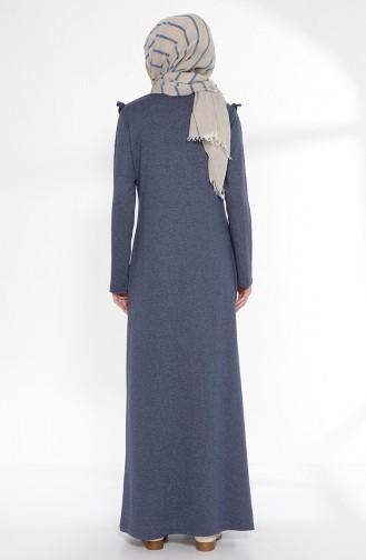 Fırfırlı Elbise 2992-05 İndigo
