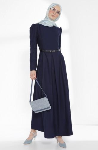Belted Dress 3159-11 Navy Blue 3159-11