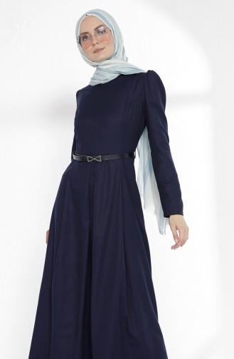 Navy Blue İslamitische Jurk 2781-02