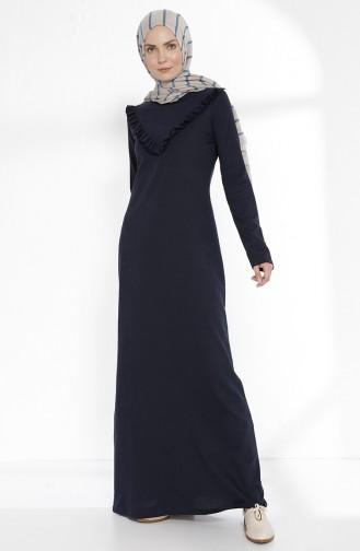 توبانور فستان بتفاصيل من الكشكش 2992-03 لون كحلي 2992-03