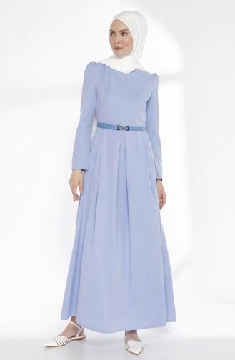 Kemerli Elbise 2781-20 Mavi