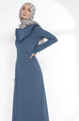 Fırfırlı Elbise 2992-10 Petrol