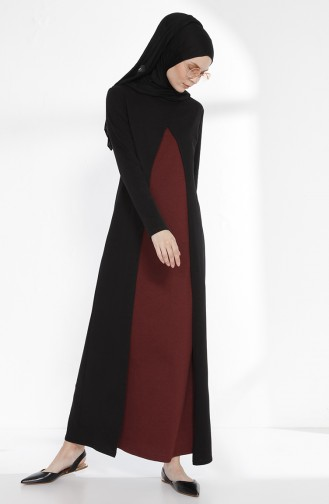 توبانور فستان بتصميم موصول بقطعة 2895 - 02 لون أسود و خمري 2895-02