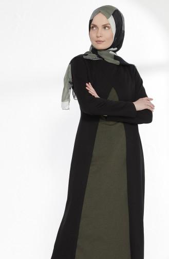 TUBANUR Suit Looking Dress 2895-14 Black Khaki Green 2895-14