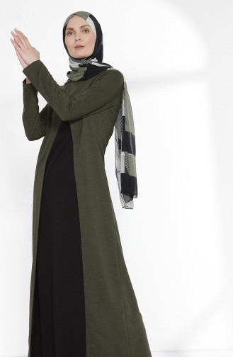 Two Thread Dress with Suit Look 3158-14 Khaki Black 3158-14