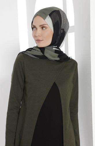 Takım Görünümlü Elbise 2895-15 Haki Yeşil Siyah