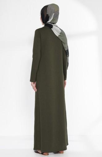 Team aussehendes Kleid 2895-15 Khaki Grün Schwarz 2895-15