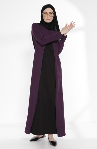 TUBANUR Suit Looking Dress 2895-05 Purple Black 2895-05