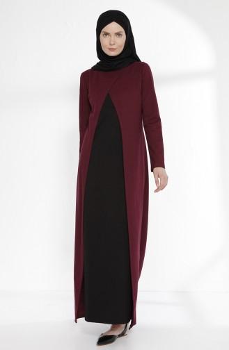 Takım Görünümlü Elbise 2895-07 Mürdüm Siyah