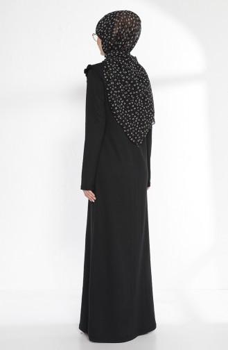 Fırfırlı Elbise 2992-02 Siyah