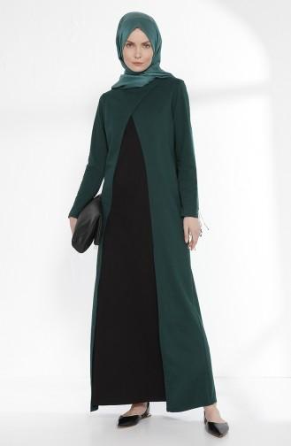 TUBANUR Suit Looking Dress 2895-03 Emerald Green Black 2895-03