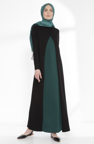 TUBANUR Suit Looking Dress 2895-04 Black Emerald Green 2895-04