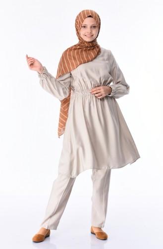Aerobin Kumaş Tunik Pantolon İkili Takım 5775-03 Bej
