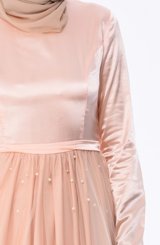 Salmon Islamic Clothing Evening Dress 12002-06
