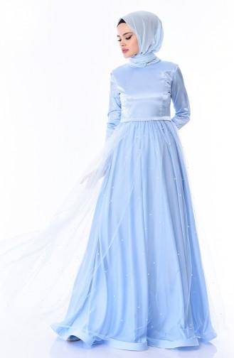 Robe de Soirée Perlées 12002-07 Bleu Bébé 12002-07