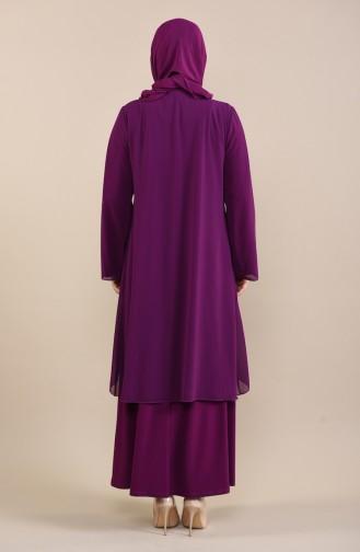 Robe de Soirée Détail Collier Grande Taille 2422-01 Pourpre 2422-01