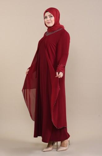 Büyük Beden İncili Abiye Elbise 3146-02 Bordo