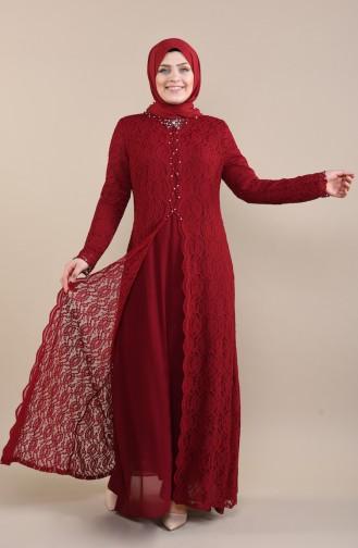 Robe de Soirée a Dentelle Grande Taille 5070-02 Bordeaux 5070-02