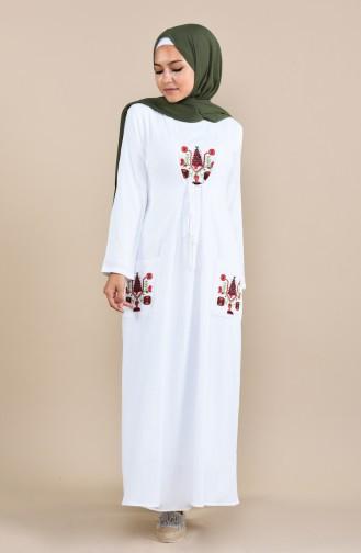 Robe avec Poche 22205-08 Blanc 22205-08