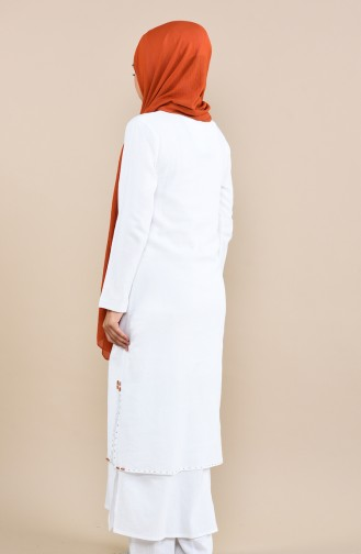Boncuk İşlemeli Şile Bezi Uzun Tunik 22204-07 Beyaz