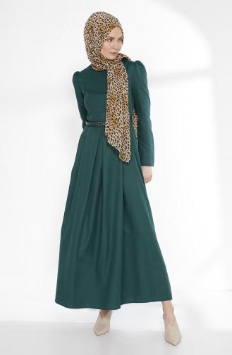 توبانور فستان بتصميم حزام للخصر 2781-13 لون أخضر زمردي 2781-13