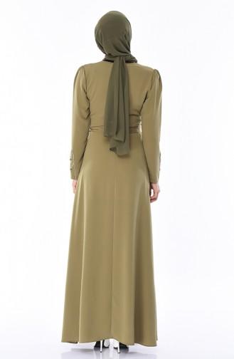 فستان بتفاصيل لامعة 8152-04 لون اخضر كاكي 8152-04