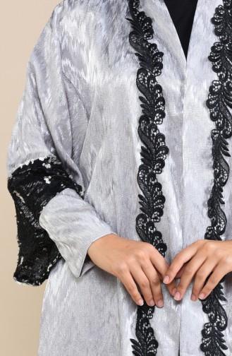Payetli Abaya 8539-02 Siyah Gümüş 8539-02