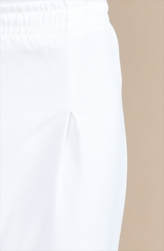 Beli Lastikli Pantolon 5272-01 Beyaz