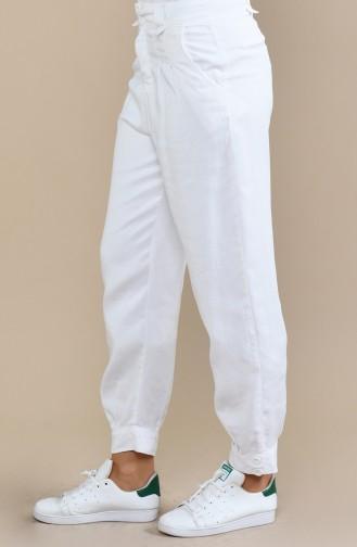 Sinnliche Hose mit Taschen 2585-02 Weiss 2585-02