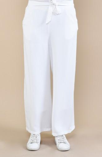 Pantalon Large a Ceinture 2564-09 Blanc 2564-09