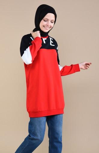 Sweatshirt mit Tasche 3452-05 Rot 3452-05