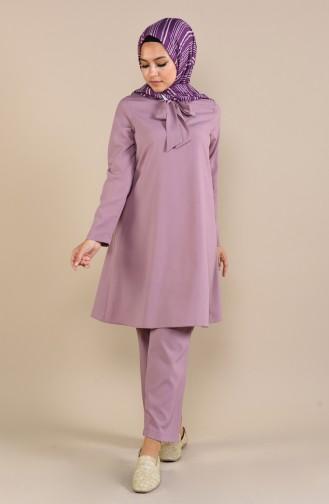 Kravat Yaka Tunik Pantolon İkili Takım 1061-04 Gül Kurusu