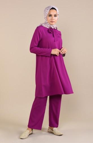 Kravat Yaka Tunik Pantolon İkili Takım 1061-06 Mürdüm