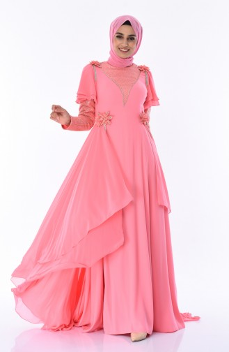 Koralle Hijab-Abendkleider 7024-04