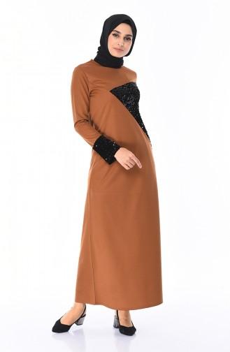 Payetli Elbise 4002-06 Tarçın