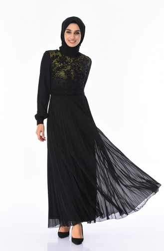 Dantelli Piliseli Elbise 7Y3715402-02 Haki Siyah