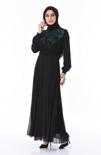 Spitzen Kleid mit Plissee  7Y3715402-03 Smaragdgrün Schwarz 7Y3715402-03