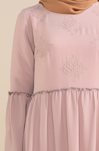 Robe Brodée 1191 -08 Beige Foncé 1191-08