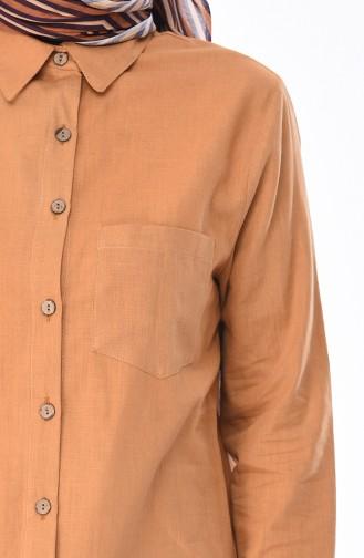Düğmeli Keten Tunik 5015-04 Karamel