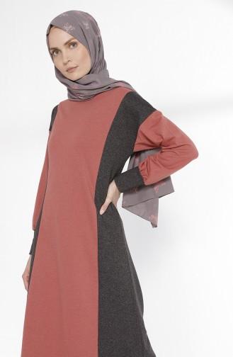 Robe Hijab Rose Pâle Foncé 2941-13
