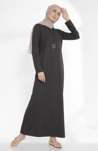 Kleid mit Halskette aus Zwei Garne Stoff 2779-03 Anthrazit 2779-03