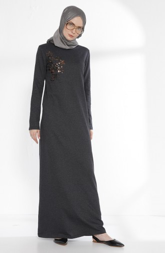 TUBANUR Sequined Dress 2979-03 Anthracite 2979-03