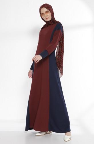 Kleid mit Patchwork 2941-11 Weinrot Dunkelblau 2941-11