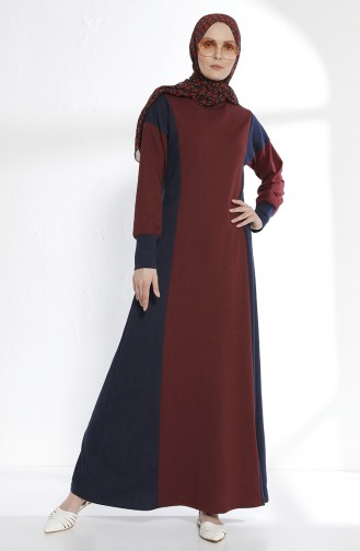 TUBANUR Garnili Dress 2941-11 Claret Red Navy Blue 2941-11