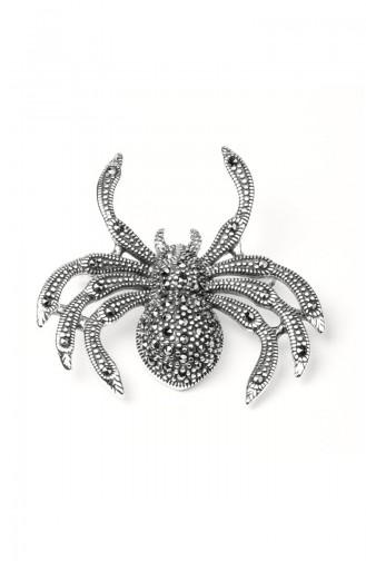 925 Ayar Gümüş Örümcek Motifli Broş ANYZK-BROS-001 Gümüş