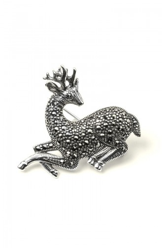 925 Sterling Silver Gazelle Patterned Brooch Silver 004