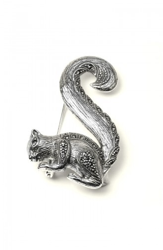 925 Sterling Silver Squirrel Patterned Brooch Silver 005