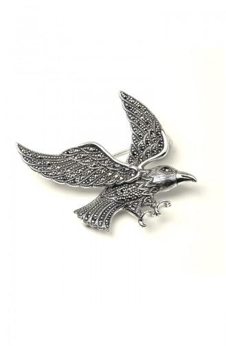 925 Ayar Gümüş Kartal Motifli Broş ANYZK-BROS-006 Gümüş