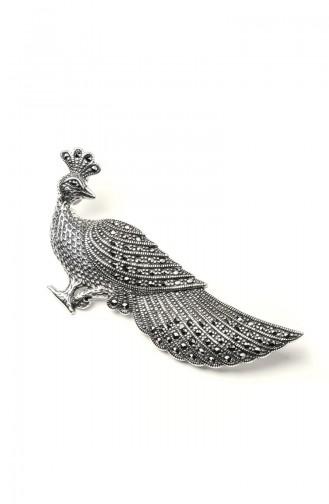 925 Ayar Gümüş Tavus Kuşu Motifli Broş ANYZK-BROS-007 Gümüş